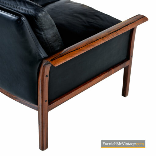 black leather danish rosewood sofa