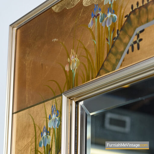 chinoiserie labarge brass frame mirror