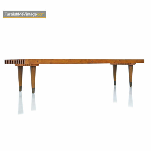 danish modern slat bench coffee table