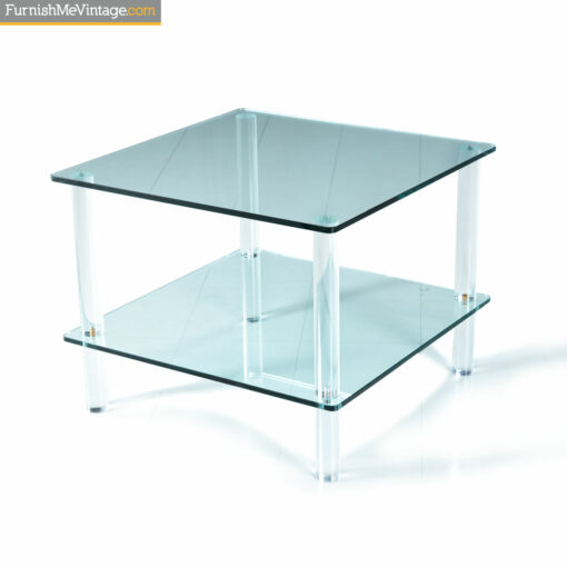 double shelf lucite glass table