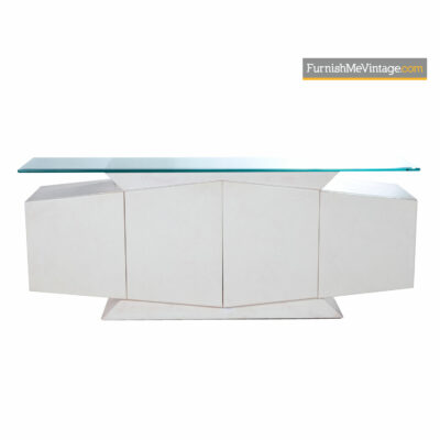 faux marble post modern credenza