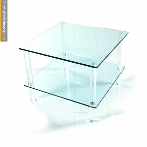 glass lucite tiered end table