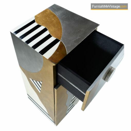 gold silver foil memphis dresser