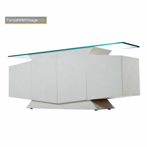 post modern white lacquer credenza