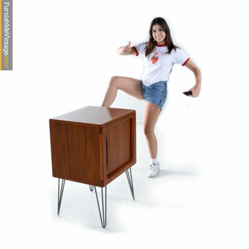 teak hairpin nightstand