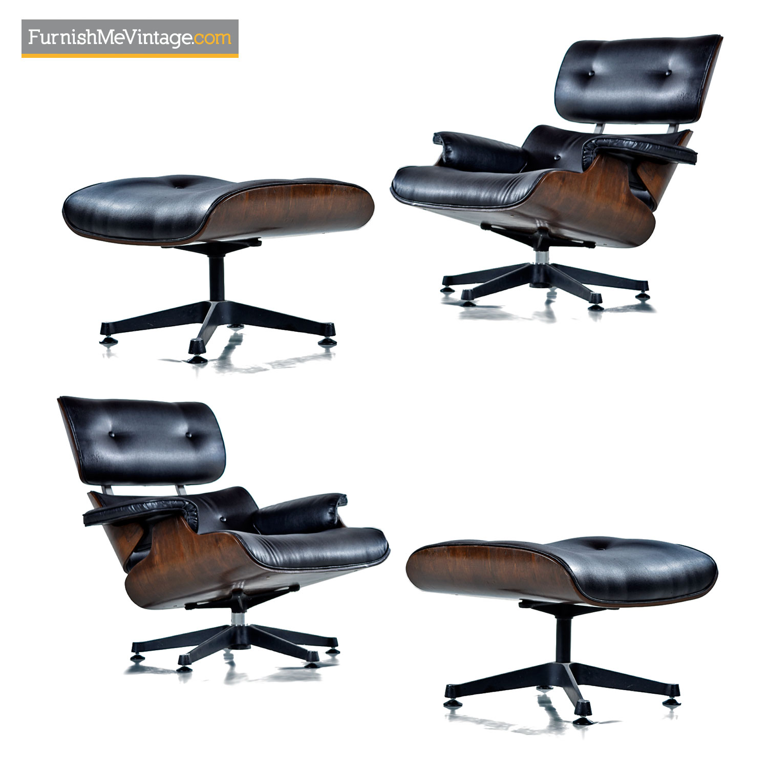 Incredible Vintage Replica Black Leather And Walnut Eames Lounge Chair And Ottoman Machost Co Dining Chair Design Ideas Machostcouk
