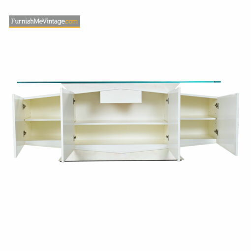 white lacquer credenza hollywood regency