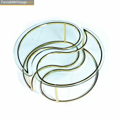 yin yang gold brass coffee table
