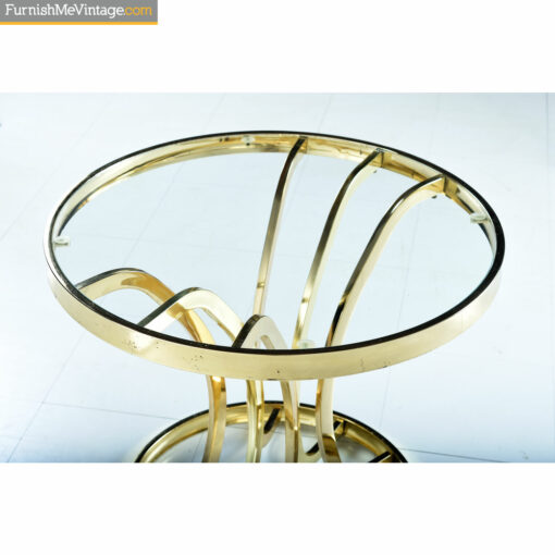 1970s gold glass cocktail table