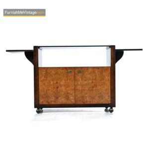 Century Furniture Campaign Style Brass Accent Burl Wood Server Dry Bar Cabinet