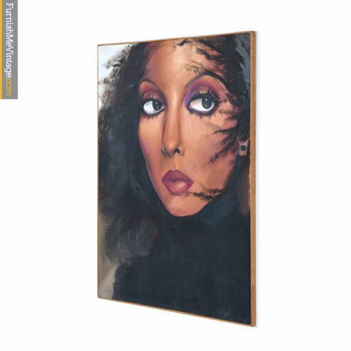 Cher Painting in Black Top by Freda Hunt