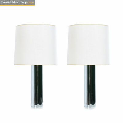 Chrome Artemide small cylinder table lamps