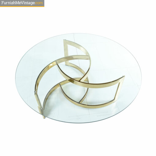 circle spiral brass glass coffee table