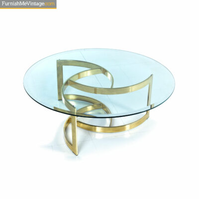 circular brass glass coffee table