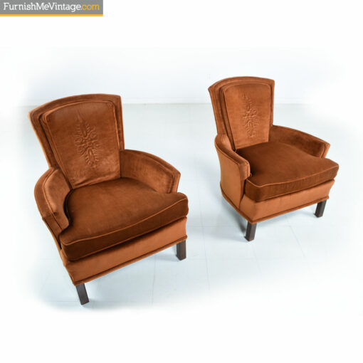 copper velvet embossed chairs