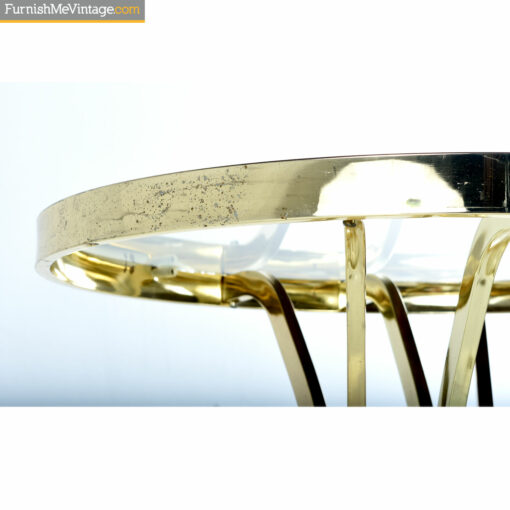 glass brass table patina