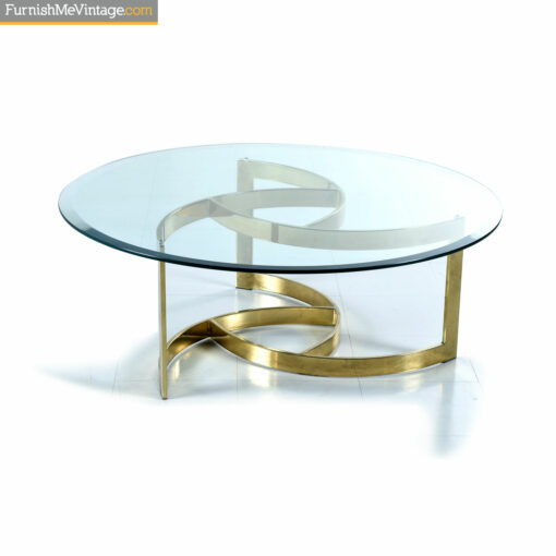 gold swirl glass coffee table