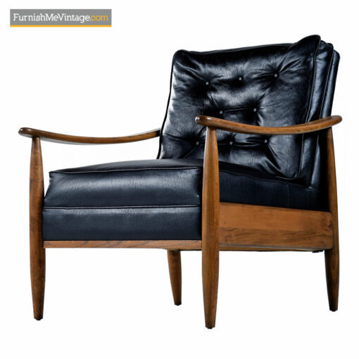 mcm black leather lounge chairs