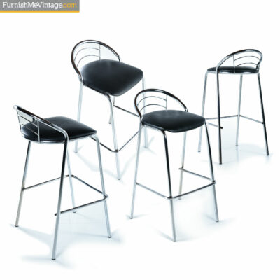 modern chrome bar stools black seats