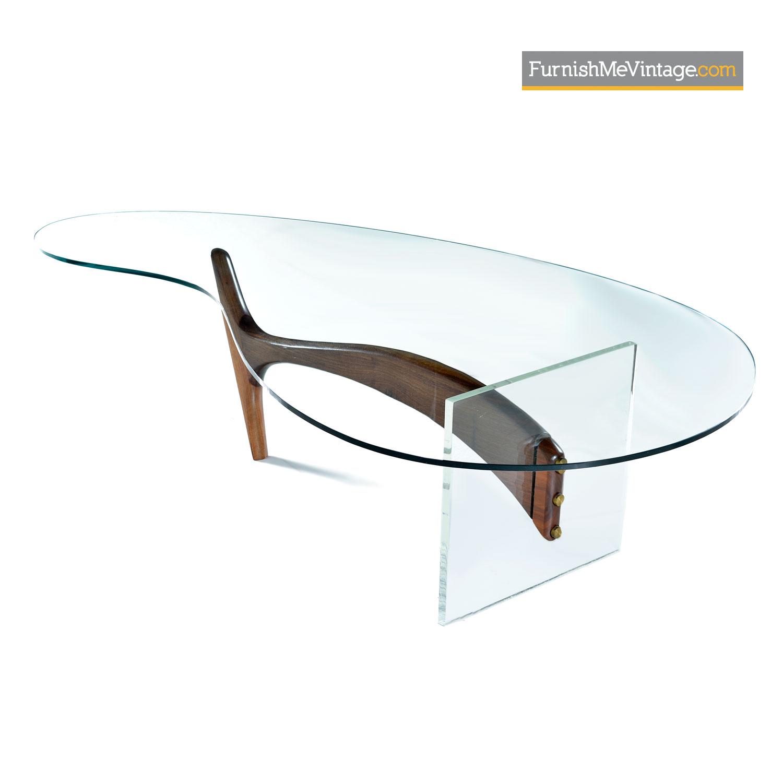 Kagan Coffee Table.Biomorphic Glass Top Acrylic Lucite Walnut Vladimir Kagan Coffee Table