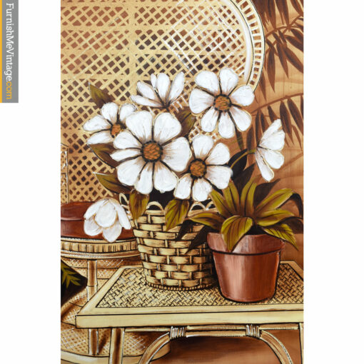 white flowers wicker sofa painting