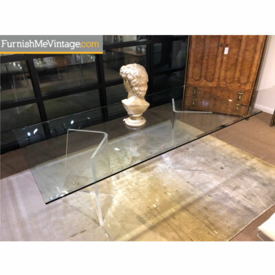 acrylic pedestal glass top table