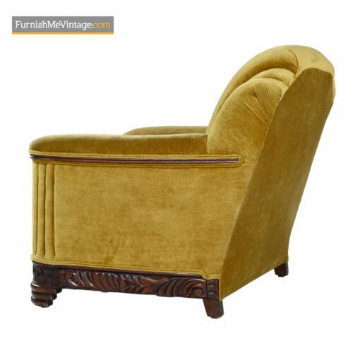art deco gold mohair club chair