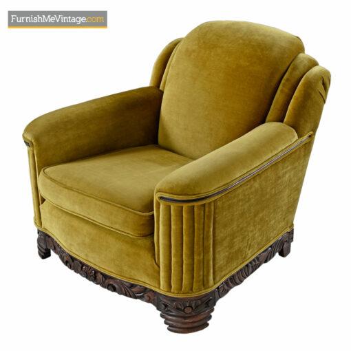 art deco mahogany club chair