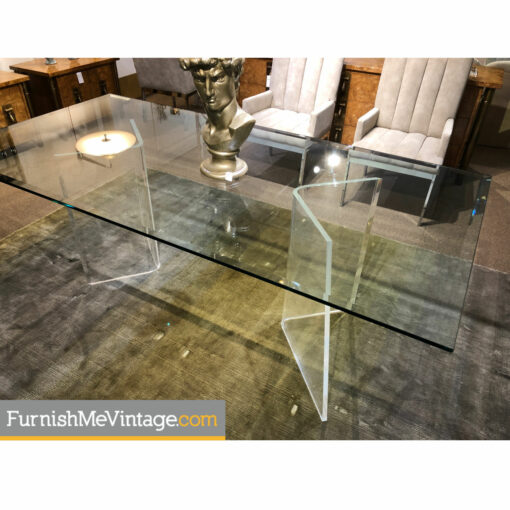 beveled glass lucite pedestal table