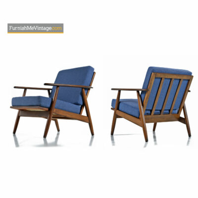 blue fabric walnut lounge chairs