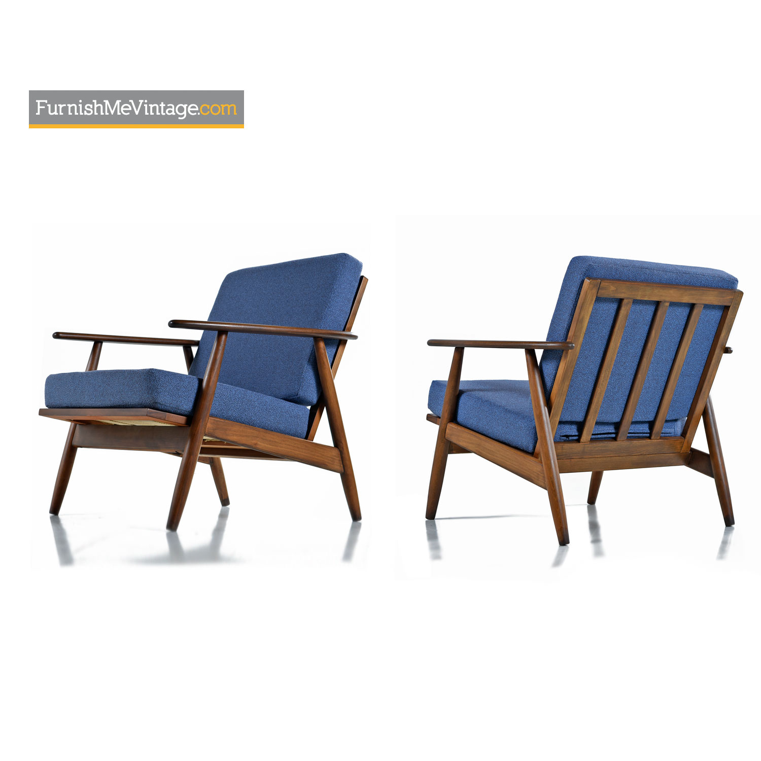 Picture of: Restored Mid Century Modern Wood Frame Arm Chairs In Blue