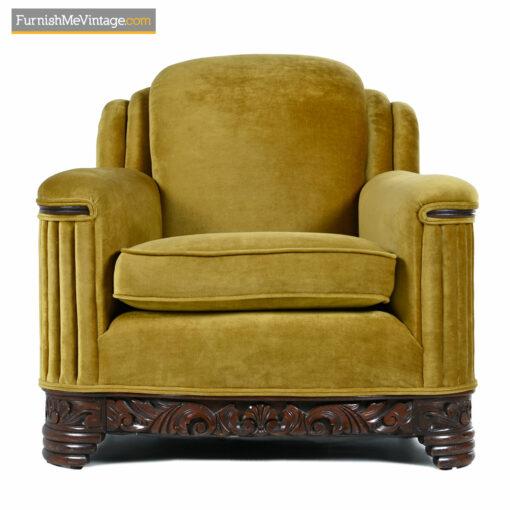 club chair art deco gold mohair