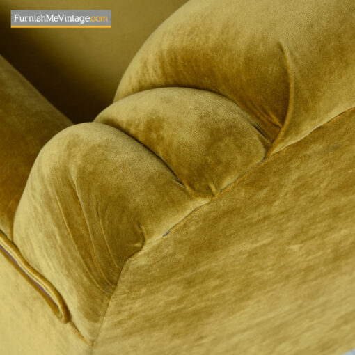 gold mohair art deco club chair