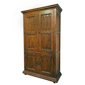 Pecan Henredon Traditional Bar Cabinet with Lighted Interior