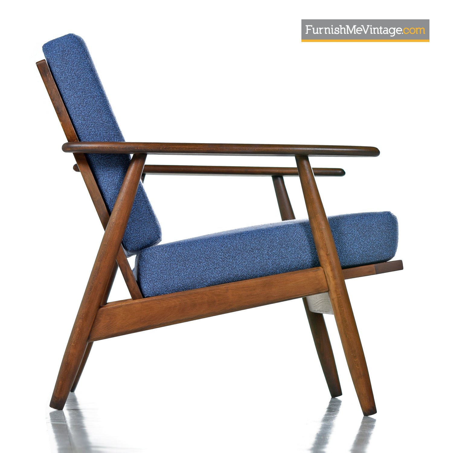 Restored Mid Century Modern Wood Frame Arm Chairs In Blue
