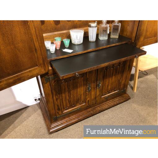 pecan henredon bar cabinet