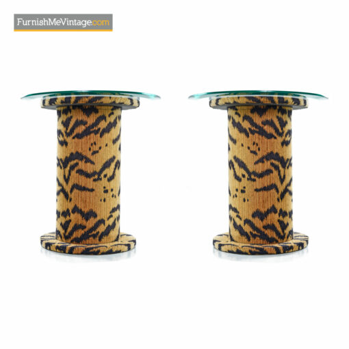 retro pedestal side tables