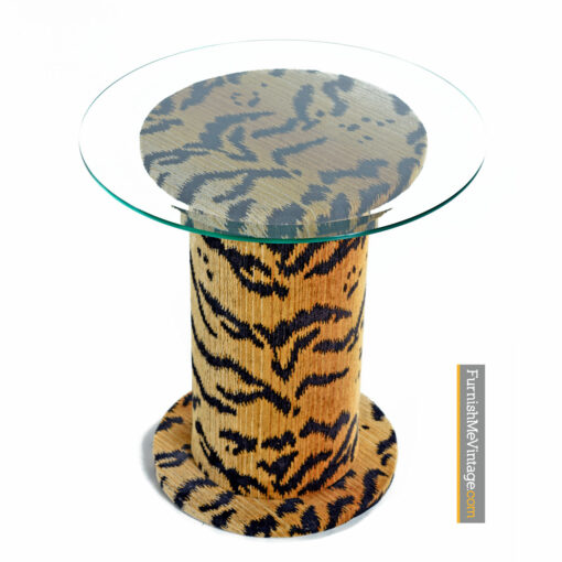 retro tiger pedestal end tables