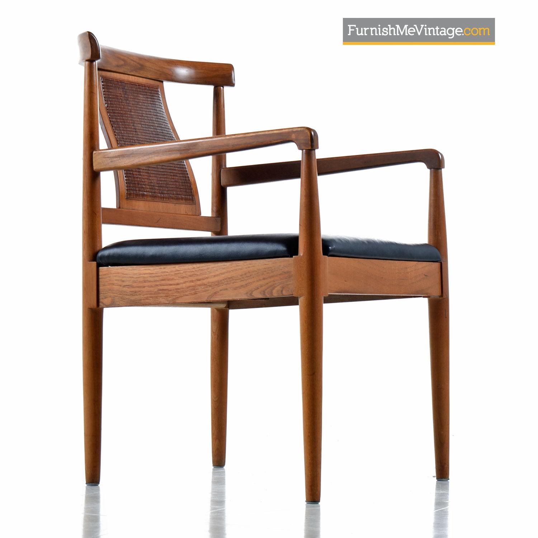 Walnut Woven Cane Captain Chair