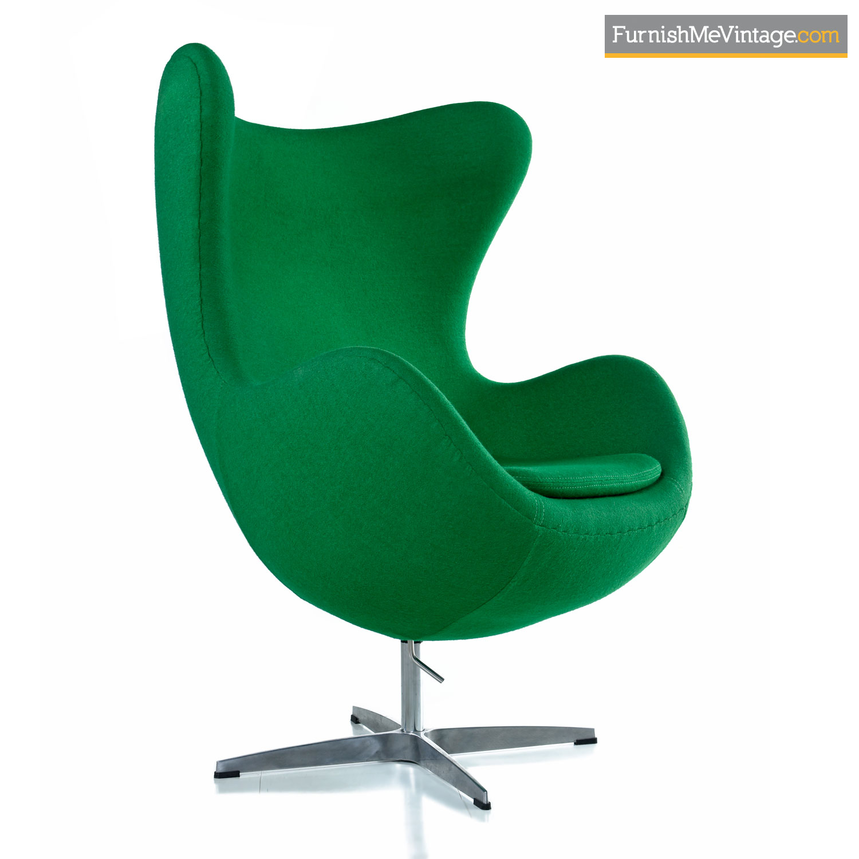 Egg Chair Arne Jacobsen Kopie.Green Felted Wool Arne Jacobsen For Fritz Hansen Egg Chair
