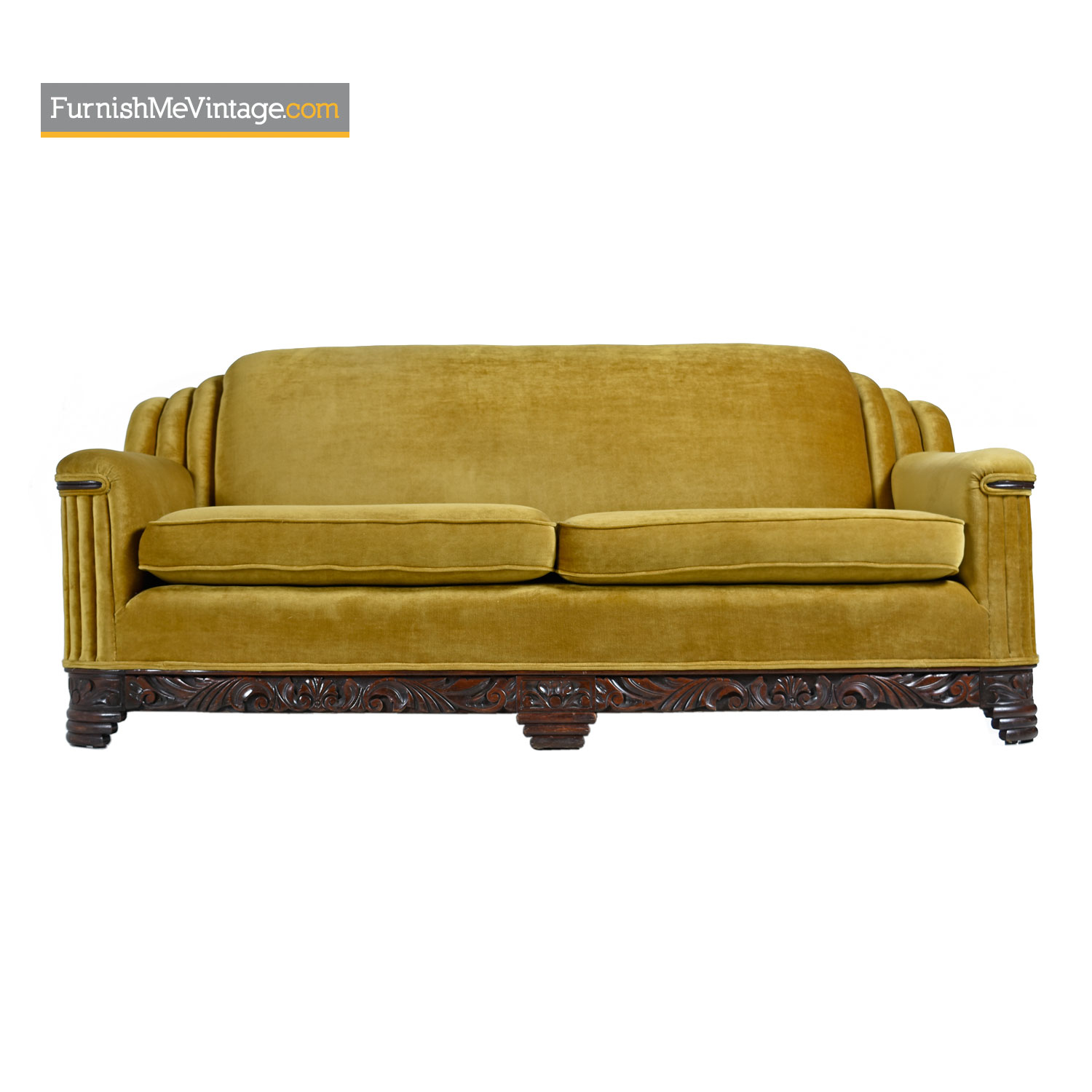 Astonishing Art Deco Mahogany Accent Bronze Gold Chartreuse Mohair Sofa Couch Lamtechconsult Wood Chair Design Ideas Lamtechconsultcom