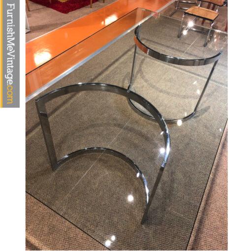 bevel glass chrome table