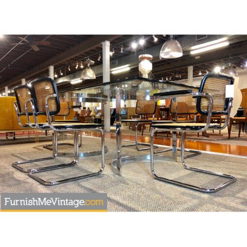 cesca chairs chrome table