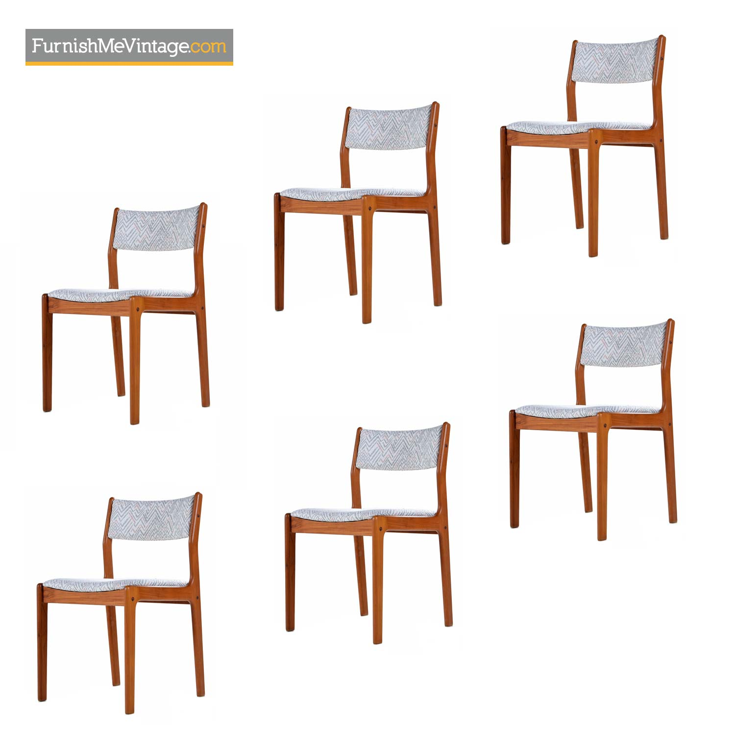 Danish Teak Dining Chairs In Modern White Gray An Pink Fabric