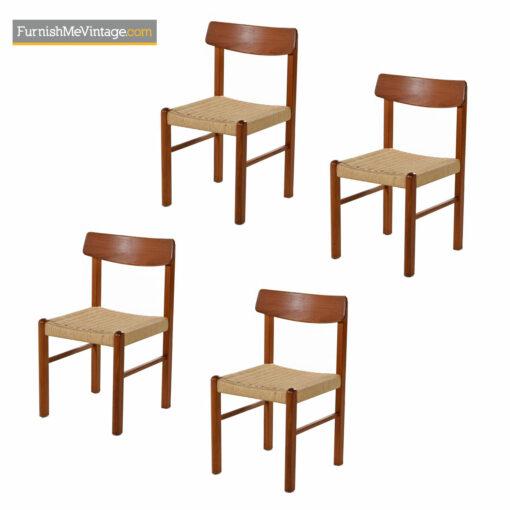 danish modern teak rope chairs