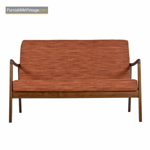 danish modern walnut settee sofa