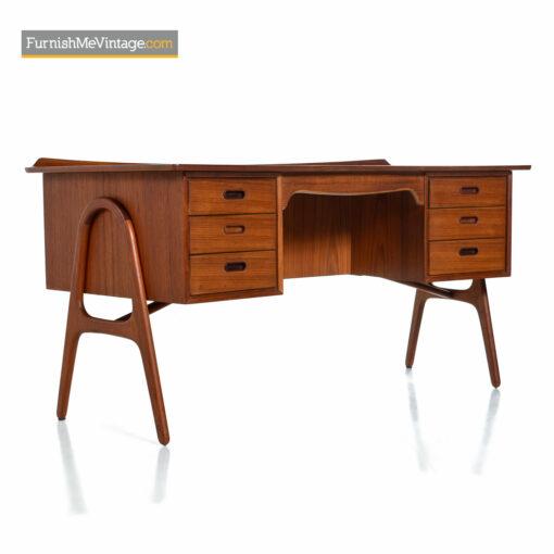 danish teak bookcase desk