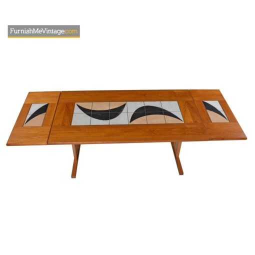 danish teak tile top dining table