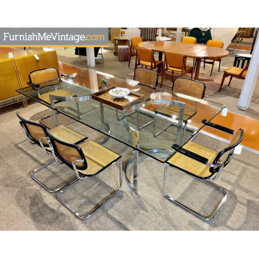 glass chrome dining table cesca chairs