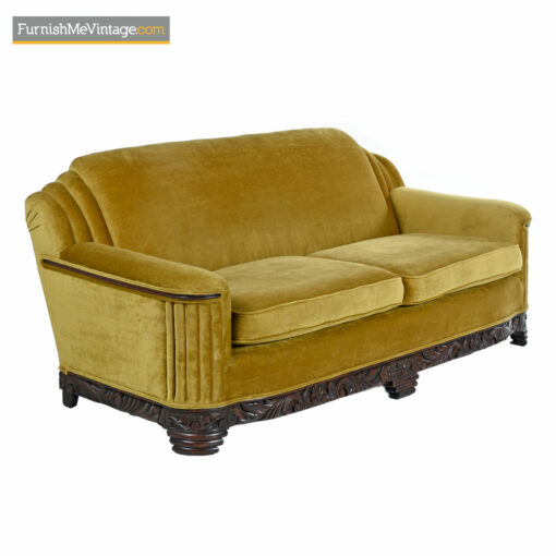 gold mohair art deco sofa couch
